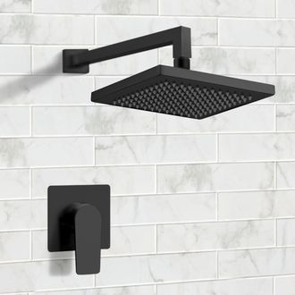 Matte Black Shower Faucet Set with 8